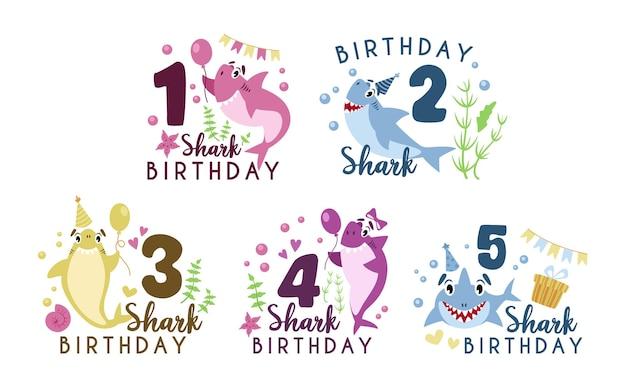 Clipart de festa de aniversário de tubarão bebê - composição de aniversário de bebê de desenho animado