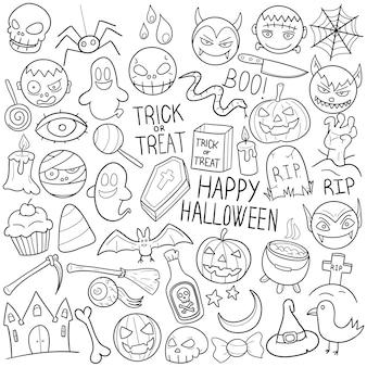 Clipart de festa de feriados de doodle halloween