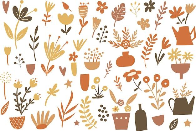 Clipart de flores e vasos de outono. ilustração vetorial.