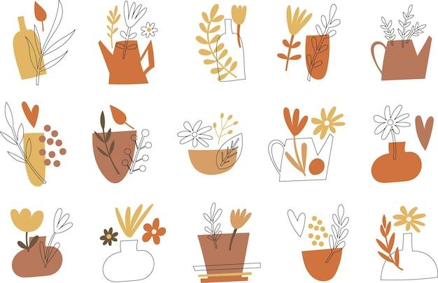 Clipart de flores e vasos. ilustração vetorial. Vetor Premium