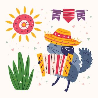 Clipart de méxico. chinchila bonita pequena no sombrero com um acordeão de botão, grama, sol e bandeiras. festa mexicana. feriado na américa latina. ilustração plana colorida, conjunto isolado