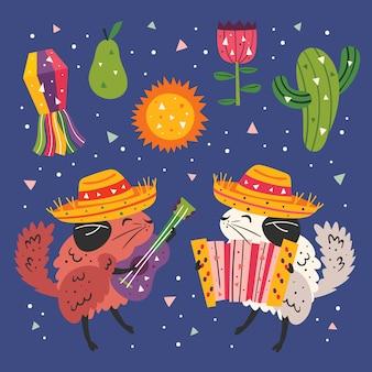 Clipart de méxico. chinchilas bonitos pequenas no sombrero com guitarra, acordeão de botão, cacto, grama e bandeiras. festa mexicana. conjunto de ilustração colorida plana