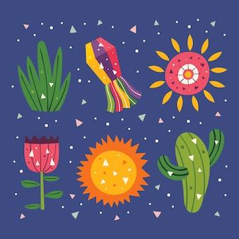 Clipart de méxico. sol bonito, decoração, cacto, grama e flor. festa mexicana. feriado na américa latina. ilustração colorida plana, conjunto de elementos, adesivos isolados