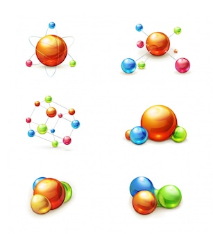 Clipart de moléculas, conjunto de vetores