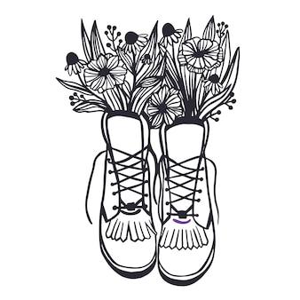 Clipart de primavera em estilo vintage sapatos antigos linha arte de flores silvestres