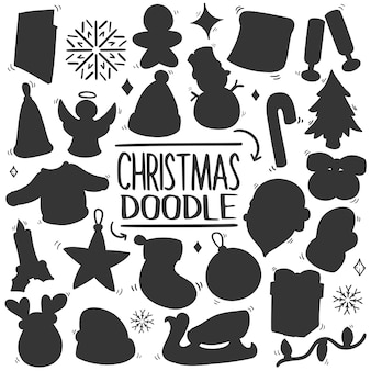 Clipart de silhueta de vetor de desenhos animados de natal