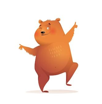 Clipart de urso engraçado dançando para crianças