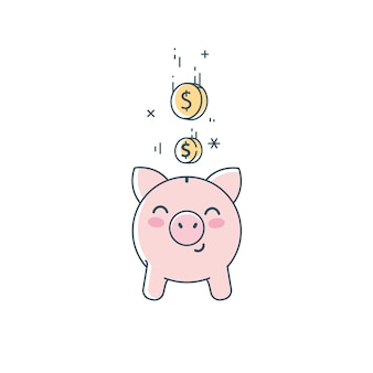 Clipart do cofrinho. porco salvador bonito e ilustração plana linear de moedas caindo.