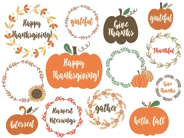 Clipart do dia de ação de graças com abóboras, elementos florais e citações de saudação. ilustração vetorial.