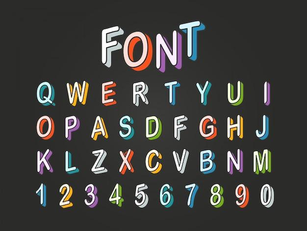 Clipart do vetor da fonte da cor do estilo 3d do pop art. letras e dígitos