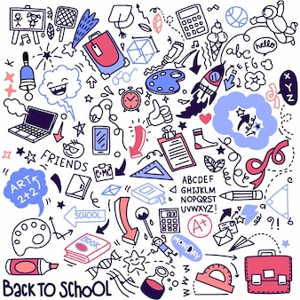 Clipart escolar. ícones e símbolos da escola do doodle do vetor. objetos de educação de stadying desenhados à mão