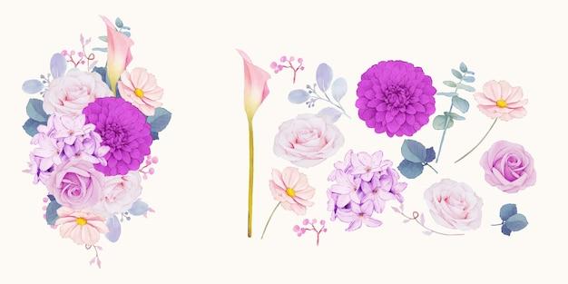 Clipart floral de flores roxas