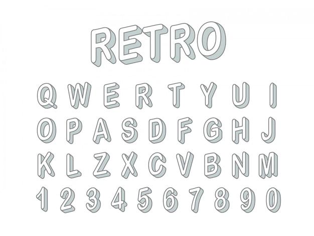 Clipart retro do vetor da fonte do estilo 3d. letras e dígitos