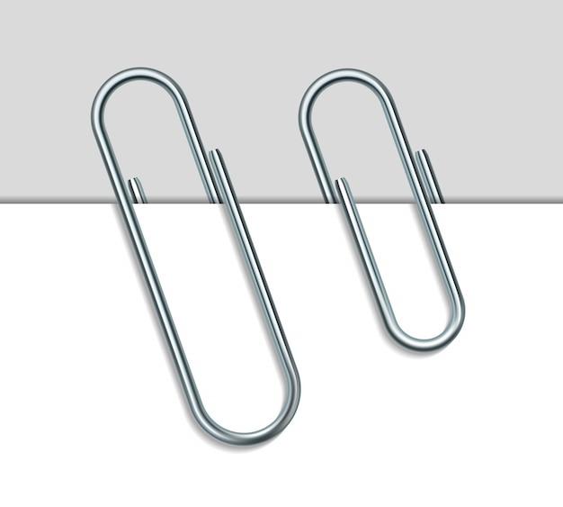 Clipe de papel de metal e papel em fundo branco. ilustração