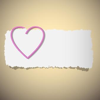 Clipe de papel em forma de coração.