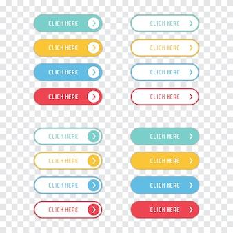 Clique aqui botões em um fundo transparente.