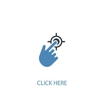 Clique aqui conceito 2 ícone colorido. ilustração do elemento azul simples. clique aqui design de símbolo de conceito. pode ser usado para ui / ux da web e móvel