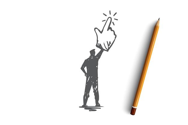 Clique aqui, dedo, homem, conceito de push. homem desenhado mão escolhendo, clique pelo esboço do conceito do mouse.