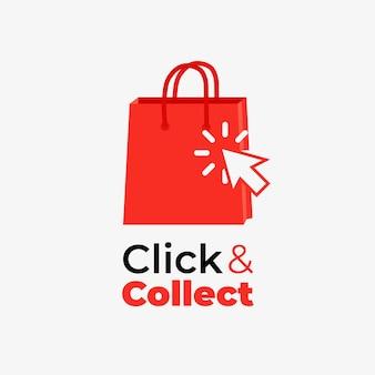 Clique detalhado e colete sinal com sacola de compras