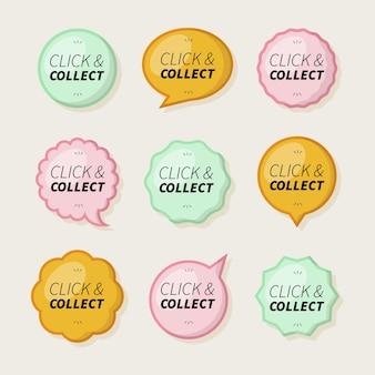 Clique e colete pacote de botões