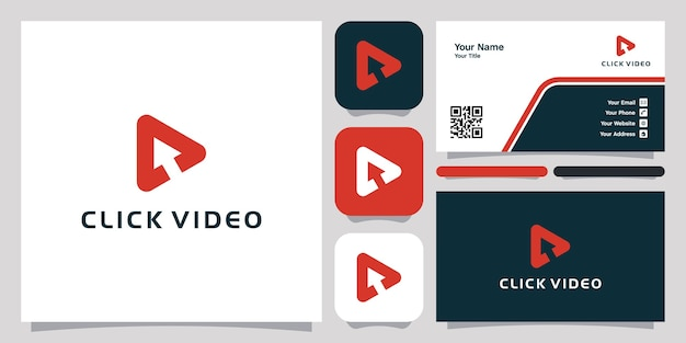 Clique em reproduzir vídeos modelo de ícone de logotipo