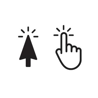Clique no botão, seta preta isolada, mão branca isolada. interface gráfica, modelo de ícones de vetor da web