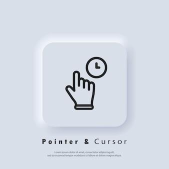 Clique no ícone do ponteiro do mouse. clicar no ícone do dedo, cursor. ponteiro de mão, clicando nos ícones. botão da web da interface de usuário branco neumorphic ui ux. neumorfismo