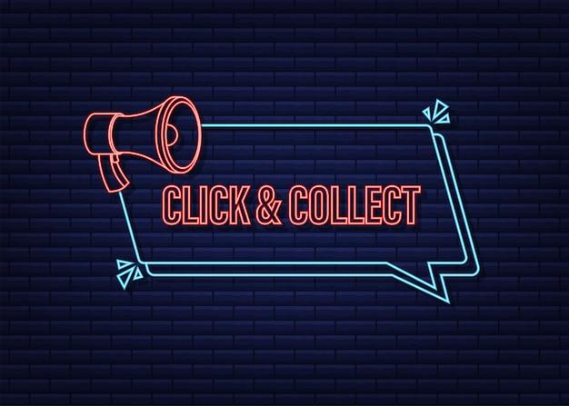 Clique no megafone e colete o banner de néon. estilo simples. ícone de vetor do site. ilustração em vetor das ações.