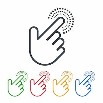 Clique nos ícones com cursores de mão