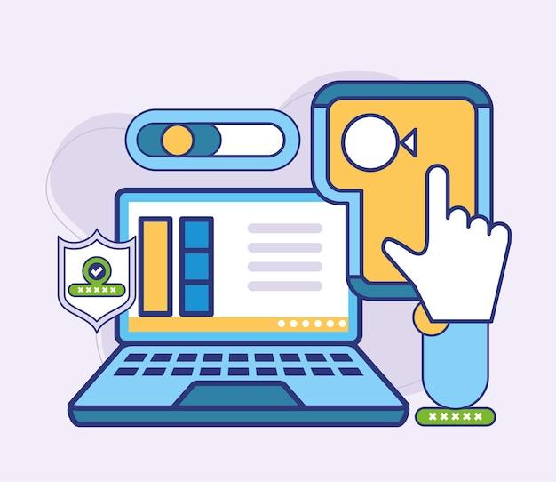 Clique para pagamento online no laptop