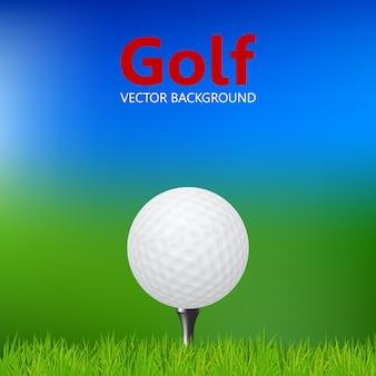 Close da bola de golfe no tee