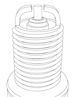 Close da vela de ignição do carro vetorial com dois eletrodos, contorno