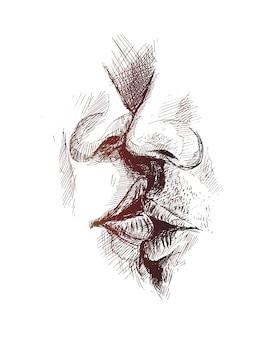Close de um lindo casal apaixonado beijando-se de fundo de vetor esboço desenhado à mão