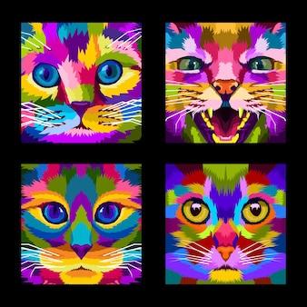Close up, cara, gato, pop art, retrato, estilo