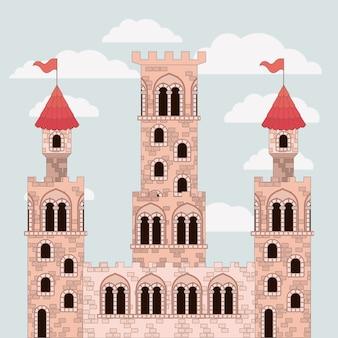Close up do castelo rosa de contos de fadas