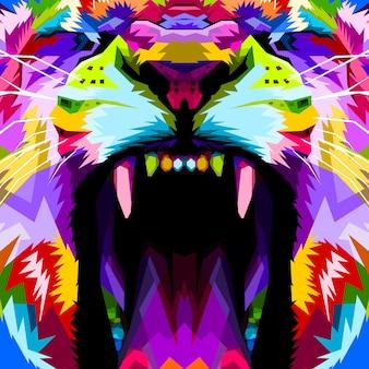 Close-up do leão colorido com raiva de rosto
