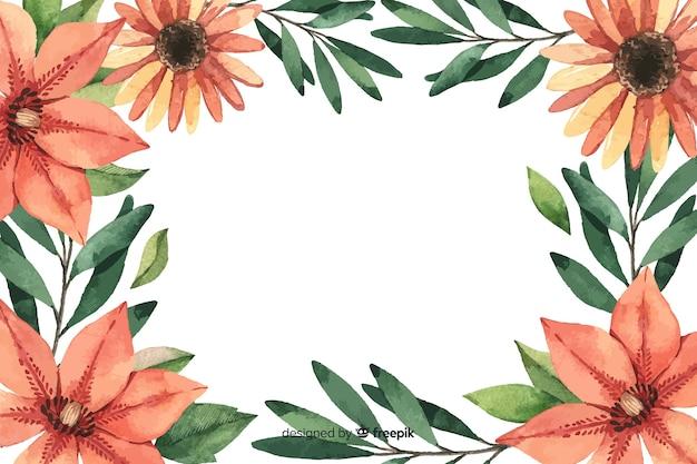 Close-up lindas flores aquarela floral fundo