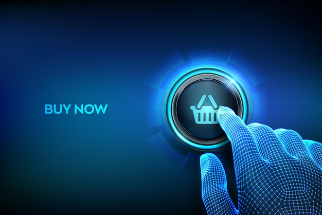 Closeup dedo prestes a pressionar um botão com um ícone de carrinho de compras. Vetor Premium