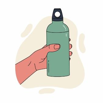 Closeup homem segurando uma garrafa de água reutilizável dia mundial do meio ambiente e conceito do dia da terra garrafa de metal inoxidável com bebida na mão do homem ilustração plana de desperdício zero