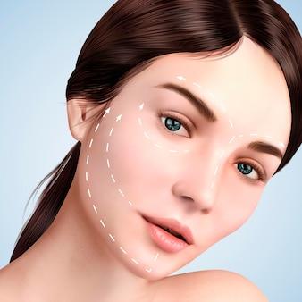 Closeup olhar para uma bela modelo, efeito de levantamento de pele com setas brancas no rosto para procedimentos cosméticos ou médicos, ilustração 3d