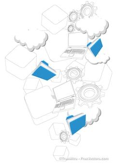 Cloud hosting tecnologia background vector set
