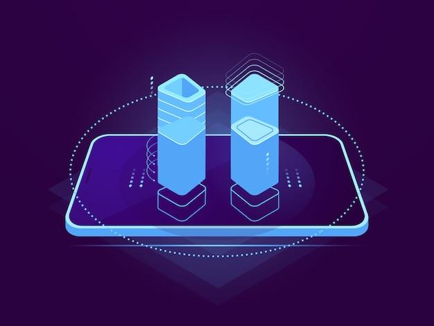 Cloud server hosting, interface móvel, elemento de controle holográfico, armazenamento em nuvem, banco de dados remoto