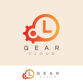 Cloud technology inicial letter l logo design