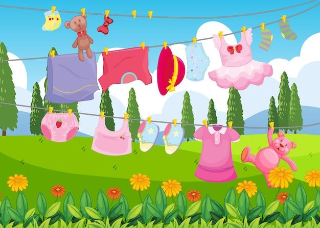 Cloyhes secando cena ao ar livre