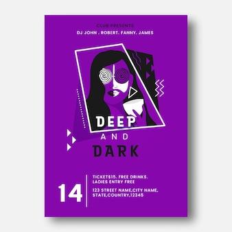 Clube apresenta design de modelo de festa profunda e escura