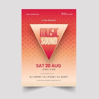 Clube apresentando design de cartaz de som de música com padrão geométrico.