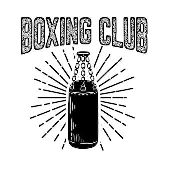 Clube campeão de boxe. modelo de emblema com saco de boxe. elemento para o logotipo, etiqueta, emblema, sinal. ilustração