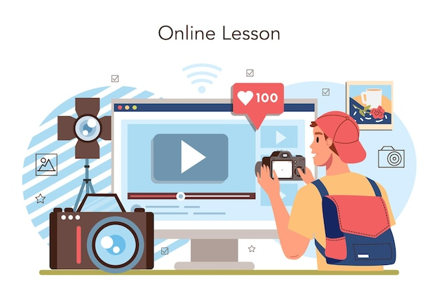 Clube da escola de fotografia ou serviço ou plataforma on-line do curso
