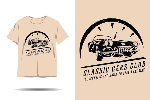 Clube de carros clássicos baratos e construídos para manter o design de silhueta de camisetas