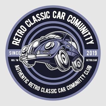 Clube de carros clássicos retrô